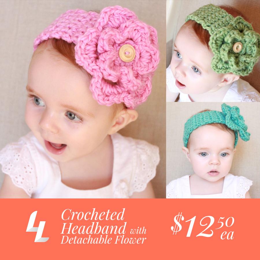Crocheted Baby Headband with Detachable Flower