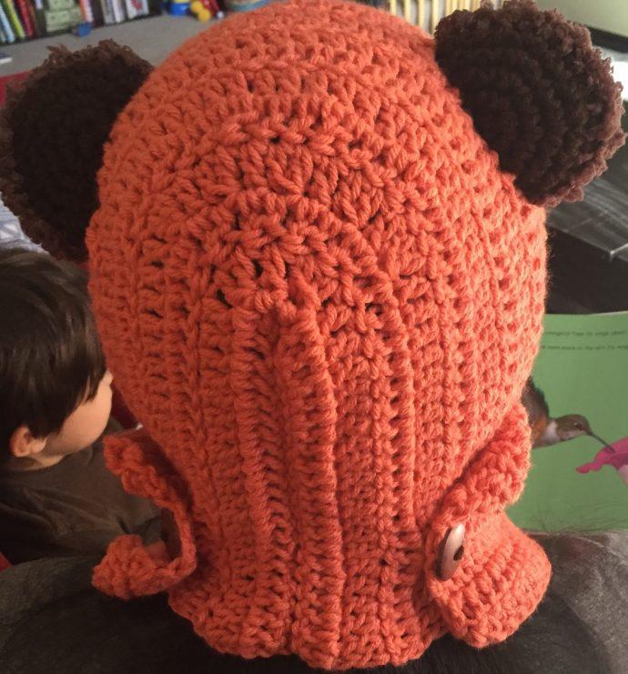 coral star wars ewok scarf hood (scoodie) back view
